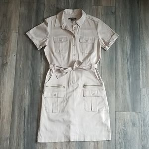Sharagano Tan Collar Short-Sleeve Dress, Size 10